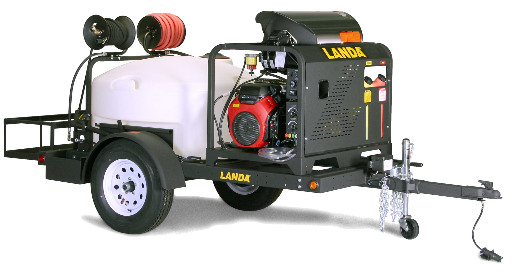 Landa TRV-3500 Single-Axle Trailer-Mounted Hot Water Pressure Washer Trailer System